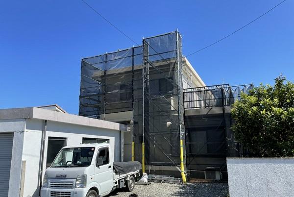徳島県鳴門市 Y様邸 屋根塗装・外壁塗装・付帯部塗装 塗装の工程 足場設置